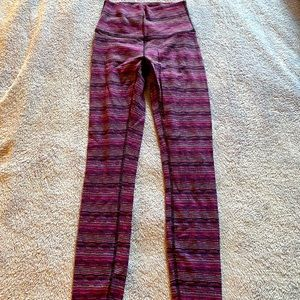 2 for $25–Lululemon Purple/Pink striped tights